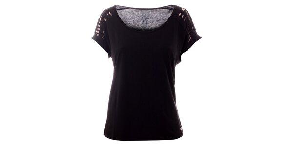 Dámske čierne tričko s vykrojenými rukávmi Lee Cooper