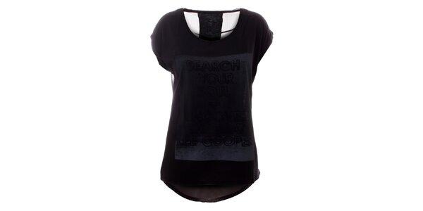 Dámske čierne tričko s priesvitným chrbtom Lee Cooper