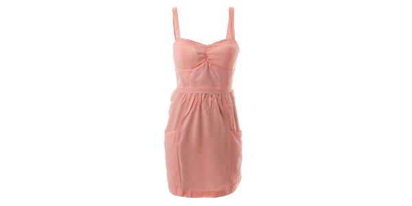 Dámske ružové bavlnené šaty s tulipánovou sukňou Lee Cooper
