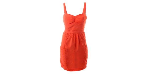 Dámske oranžové bavlnené šaty s tulipánovou sukňou Lee Cooper