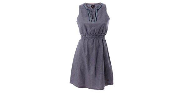 Dámske šedé bavlnené šaty s farebnou výšivkou Lee Cooper