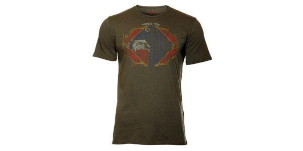 Pánske oceľovo šedé tričko Lee Cooper s potlačou