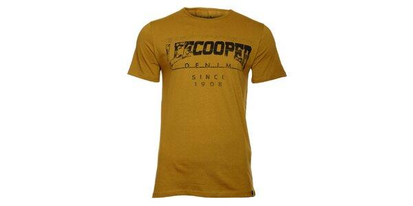 Pánske khaki tričko Lee Cooper s čiernou potlačou