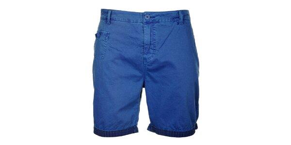 Pánske modré šortky s kockovaným lemom Lee Cooper