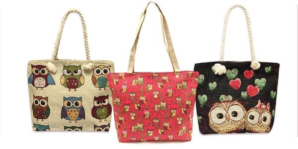 Dámske látkové tašky so sovičkami