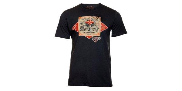 Pánske tmavo šedé tričko Lee Cooper s potlačou