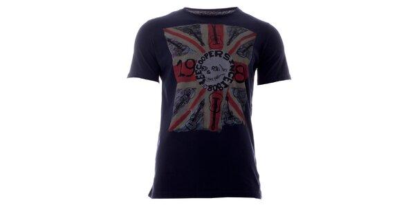 Pánske indigové tričko s farebnou potlačou Lee Cooper