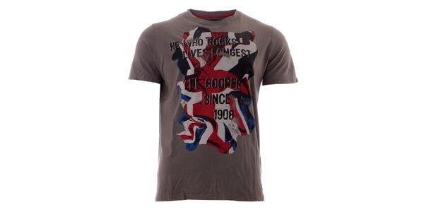 Pánske tmavo šedé tričko s britskou vlajkou Lee Cooper