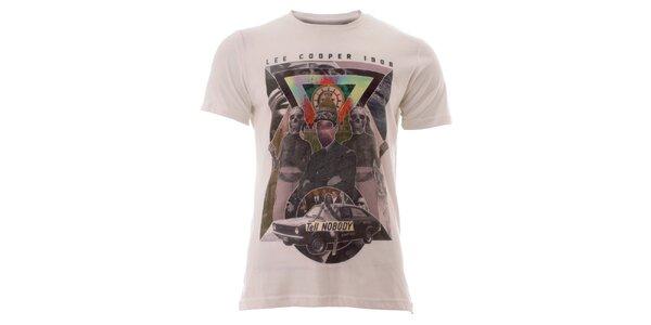 Pánske snehobiele tričko s farebnou potlačou Lee Cooper