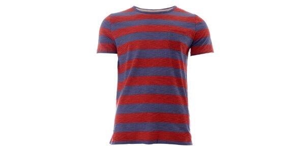 Pánske červeno-modré pruhované tričko Lee Cooper