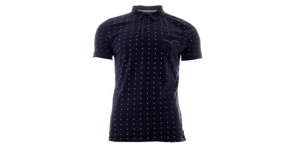 Pánske indigové polo tričko s bielymi bodkami Lee Cooper