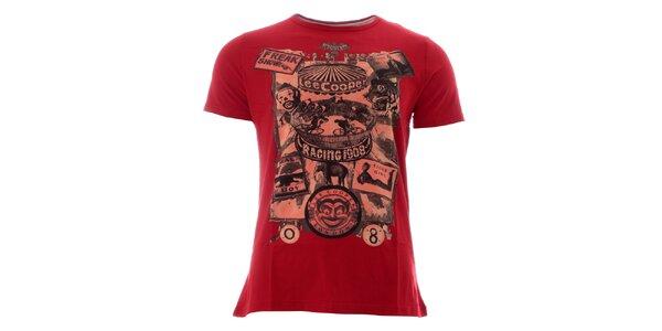 Pánske temno červené tričko s farebnou potlačou Lee Cooper