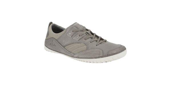 Pánske šedé kožené tenisky Clarks