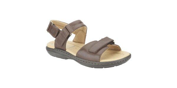 Pánske tmavo hnedé kožené sandále Clarks