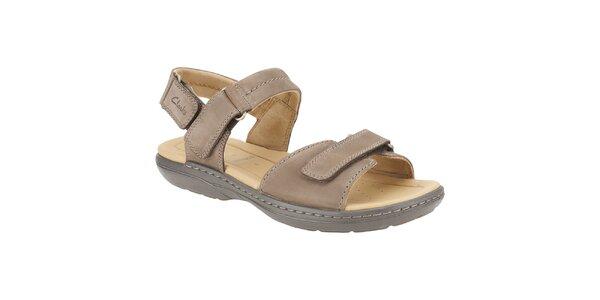 Pánske svetlo hnedé kožené sandále Clarks