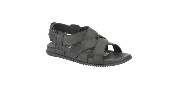 Pánske čierne kožené sandále Clarks