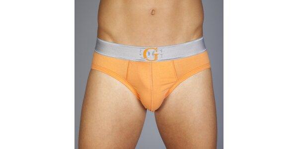 Pánske oranžové slipy Guess by Marciano so strieborným lemom