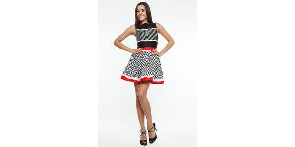 Dámske čierno-červeno-biele šaty s bodkami Renata Biassi