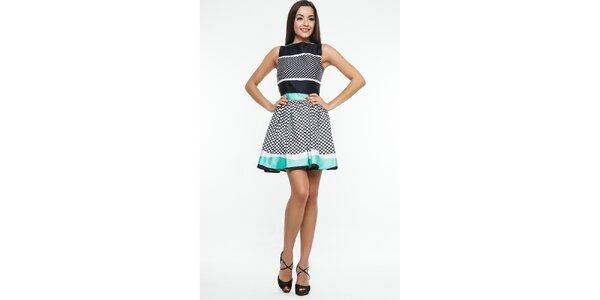 Dámske čierno-zeleno-biele šaty s bodkami Renata Biassi