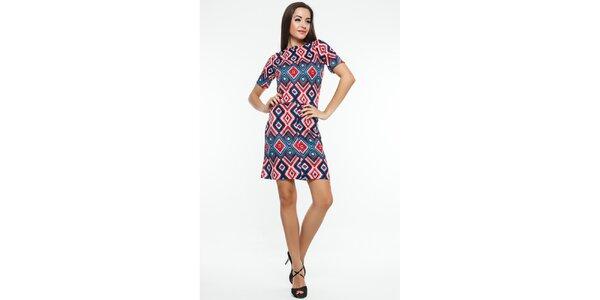 Dámske modro-červené šaty s kosoštvorcovým vzorom Renata Biassi