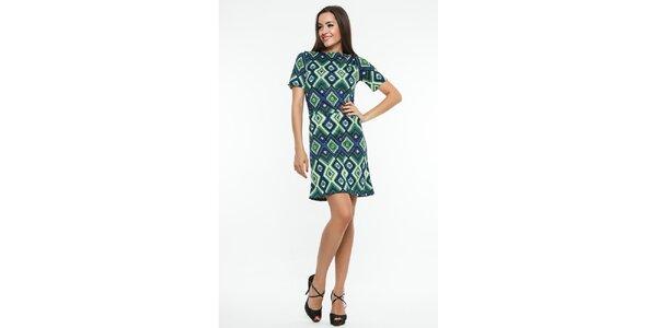 Dámske zeleno-modré šaty s kosoštvorcovým vzorom Renata Biassi