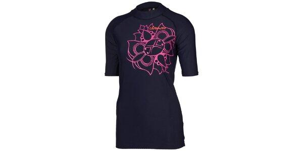 Dámske tmavo modré tričko s ružovou kvetinou Chiemsee