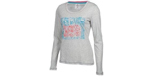Dámske svetlo šedé tričko Chiemsee s potlačou