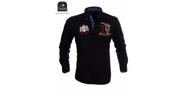 Pánska košeľa čierna Pontto