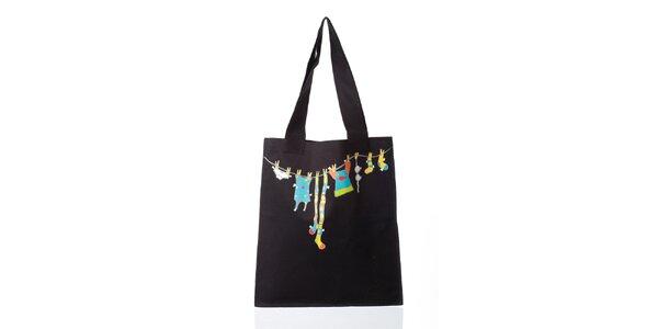 Čierna látková taška s potlačou Como Una Regadera
