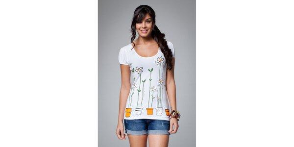 Dámske biele tričko Como Una Regadera s farebnou potlačou