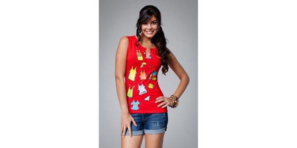 Dámske červené tričko s potlačou Como Una Regadera