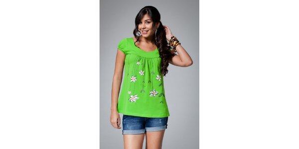 Dámske zelené tričko Como Una Regadera s motívom margarétok
