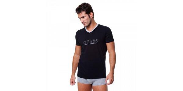 Pánske čierne tričko Guess by Marciano s potlačou