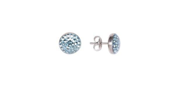 Dámske gulaté oceľové náušnice Tribal Piercing s modrými kamienkami