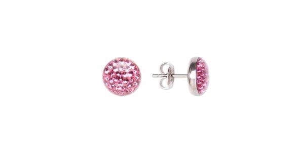 Dámske gulaté oceľové náušnice Tribal Piercing s ružovými kamienkami