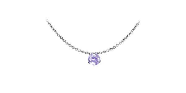 Dámsky oceľový náhrdelník Tribal Piercing s fialovým kamienkom