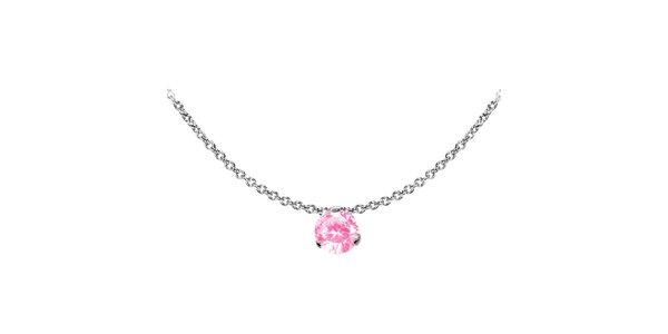 Dámsky oceľový náhrdelník Tribal Piercing s růžovým kamienkom