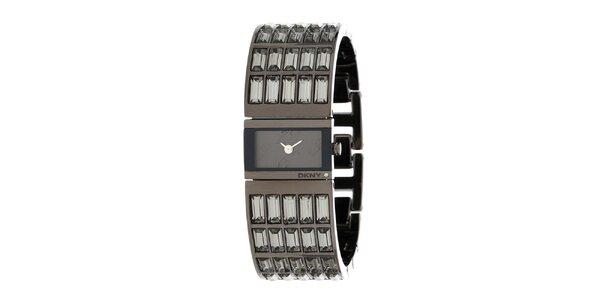 Dámske oceľové hodinky DKNY s brúsenými kamienkami