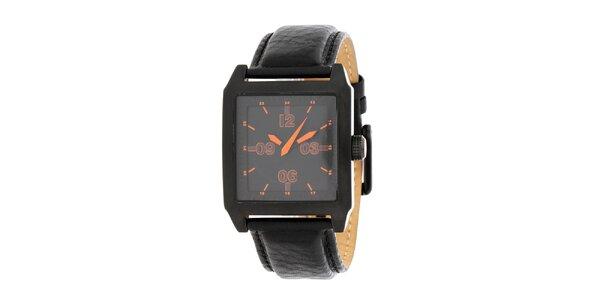 Pánske čierne oceľové hodinky DKNY s koženým ramienkom