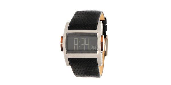 Pánske oceľové digitálne hodinky DKNY s čiernym koženým ramienkom