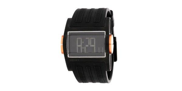 Pánske čierne digitálne hodinky DKNY so silikonovým ramienkom