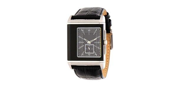 Pánske čierno-strieborné oceľové hodinky DKNY s koženým ramienkom