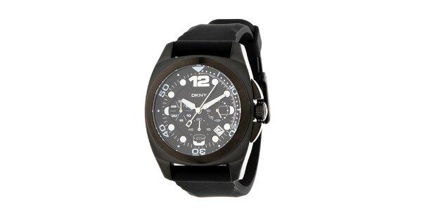 Pánske čierne oceľové hodinky DKNY so silikonovým ramienkom