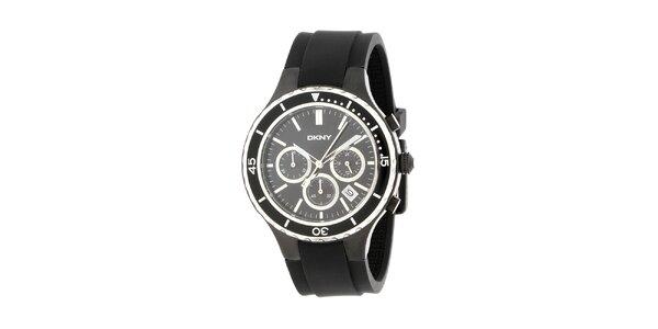 Pánske čierne hodinky DKNY s čiernym silikonovým ramienkom
