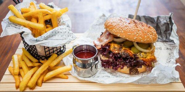 Chef's Art Burger s krkovičkou, hovädzí burger alebo palacinky