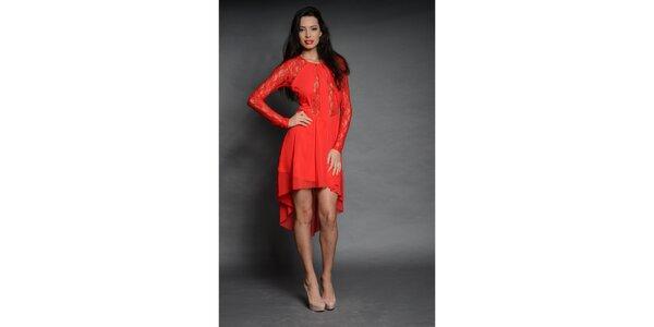 Dámske syto červené čipkované šaty Oriana