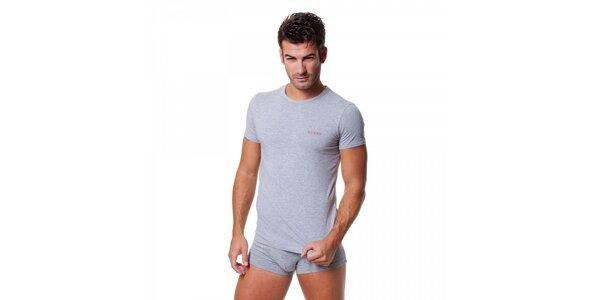 Pánske svetlo šedé tričko Guess by Marciano s potlačou