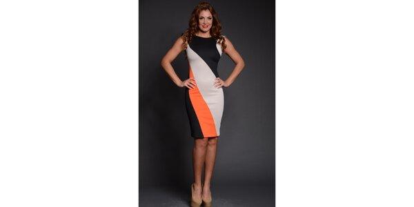 Dámske čierno-oranžovo-béžové puzdrové šaty Oriana