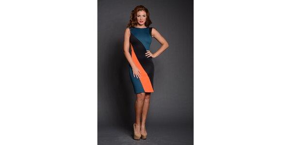 Dámske čierno-oranžovo-modré puzdrové šaty Oriana