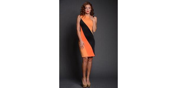 Dámske čierno-oranžové puzdrové šaty Oriana